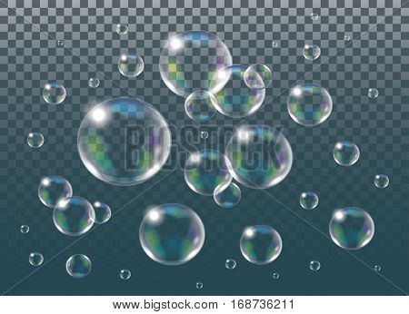 Realistic vector isolated Soap Bubbles.
