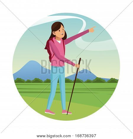 young girl hiking backpack with walking stick-badge vector illustration eps 10