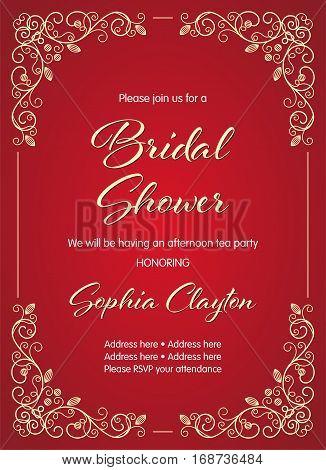 Bridal Shower invitation in retro style with decorative design elements. Vector illustration poster