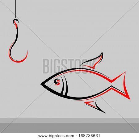 Fishing Icon Raster Illustration