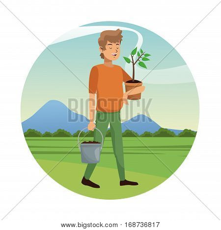 man carrying pot plant and earth pot-gardening vector illustation eps 10