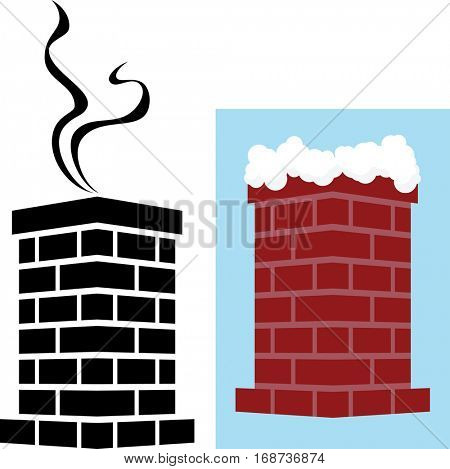 Brick Chimney Icon with Snow and Smoke Raster Illustration