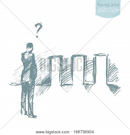 Businessman looking at doors and pondering over decision. Concept vector illustration, sketch
