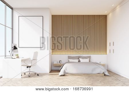 Bedroom With Wooden Floor And Table