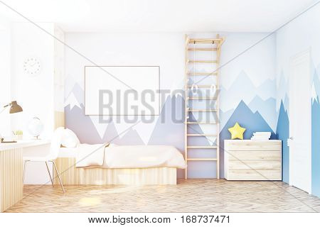 Front View Of Kid's Room With Table, Toned