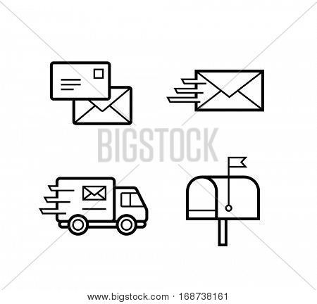 Icon set for postal and express delivery service. Stroke thickness editable vector icons for  post and freight ship companies. All vector objects contain non-expanded stroke.