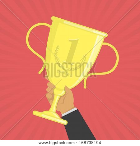 Hand holding gold trophy cup. Winner prize awards. First place win. Winners Cup competition success concept vector illustration. EPS 10.
