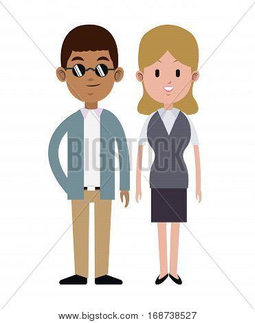 couple multi-ethnic formal style vector illustration eps 10