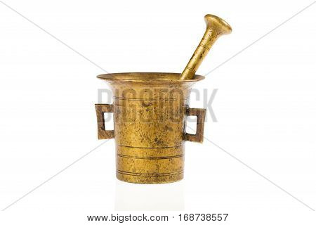 One old bronze mortar photographed in studio on white background