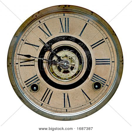 Face Of Antique Grandfather Clock