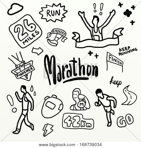 Marathon Run. drawing Doodle watercolour style set poster