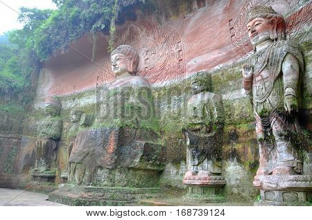Vairocana Buddha, Leshan Giant Buddha, Sichuan Province, China. Leshan Giant Buddha is a UNESCO World Heritage Site since 1996.