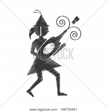 woman uncovering a bottle of wine icon, vector illustration image