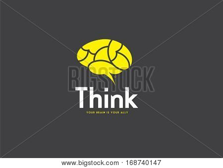 Brain Logo silhouette design vector template. Think idea concept. Brainstorm power thinking brain Logotype icon .
