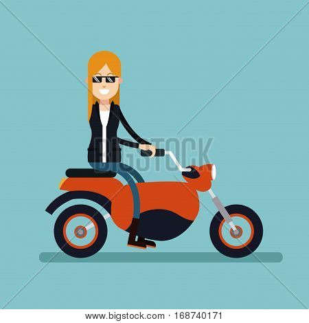 woman sunglasses jacket driving motorcycle vector illustration eps 10