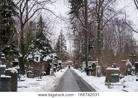Moscow, Russia. 18 December 2016 : Novodevichy Cemetery, The Most Famous Cemetery In Moscow, Russia.