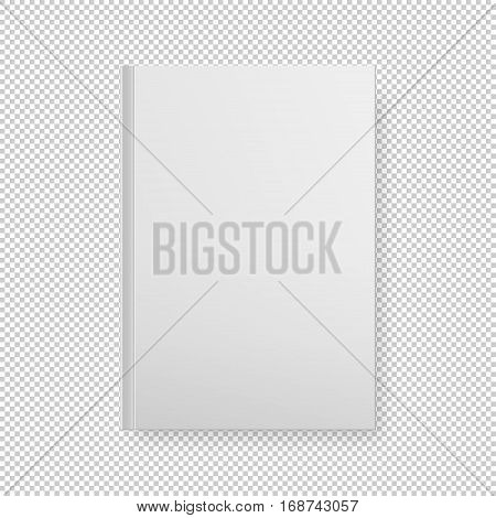 Realistic white book blank cover isolated. Vector mock up EPS10 illustration.