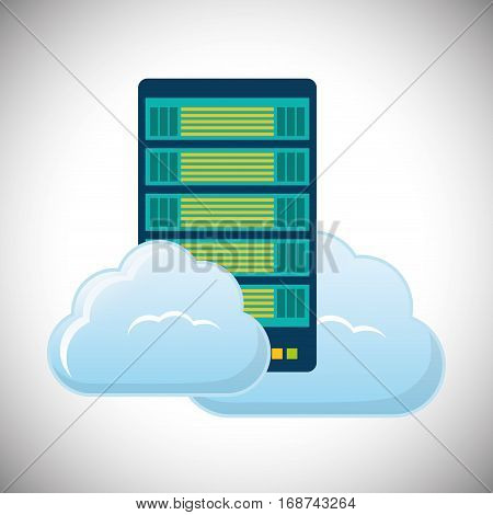 cloud hosting data center icon, vector illustration