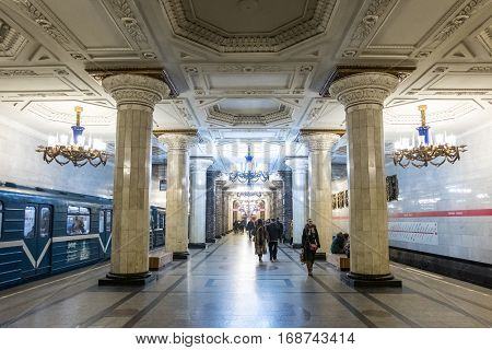 Saint Petersburg, Russia. 19 December 2016 : People Walking Around Metro Station In Rush Hour, In Sa