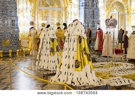Saint Petersburg, Russia. 19 December 2016 : Interior Of The Catherine Palace, Was The Summer Reside