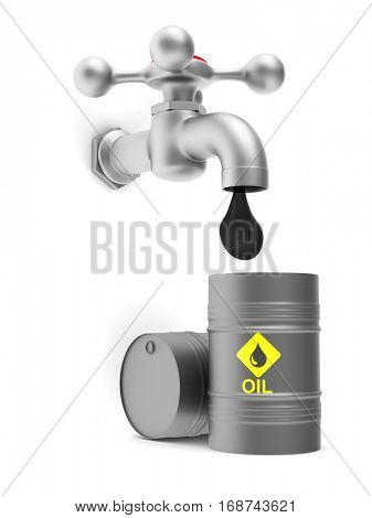 concept oil production on white background. Isolated 3D image.