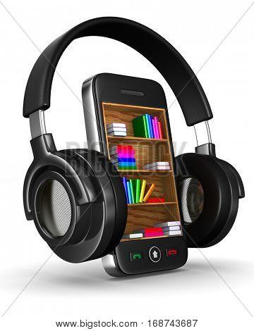 Audio books on white background. Isolated 3D image.