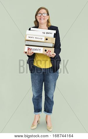 Woman Smiling Happiness Document Hardworking