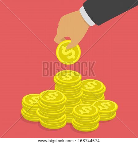 Hand putting dollar coin in stack. Profit, making money, business or finance concept. Golden coins in businessman hand. Saving money vector illustration flat design style. EPS 10.