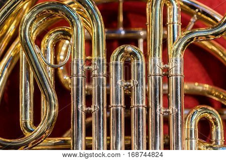 Close view on the classic instrument trombone