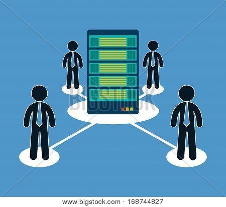 database optimization people hosting icon, vector illustration image