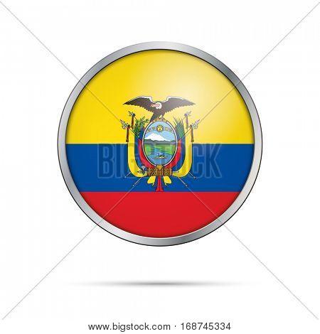 Vector Ecuadorian flag Button. Egypt flag in glass button style.Ecuador flag glass button style with metal frame.