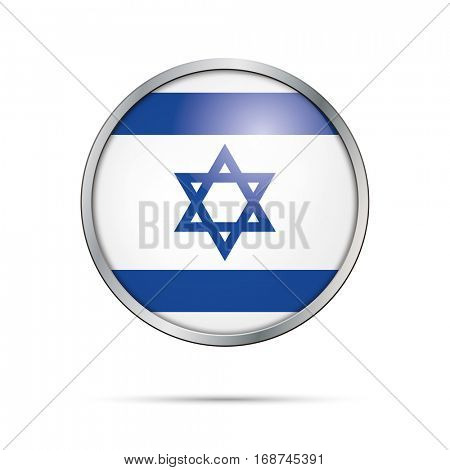 Vector Israelite flag button. Israel flag glass button style with metal frame.