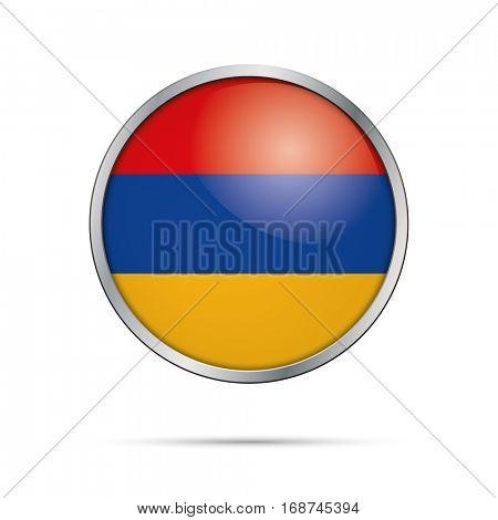 Vector Armenian flag Button. Armenia flag glass button style with metal frame.