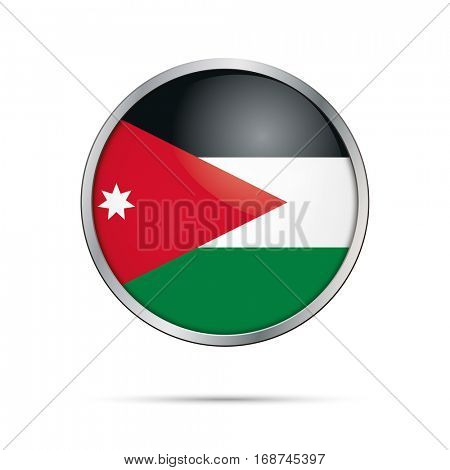 Vector Jordanian flag button. Jordan flag glass button style with metal frame.