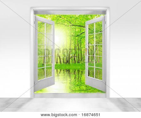 Opened door to beautiful sunrise in imaginary rural landscape  - conceptual image - environmental business metaphor.