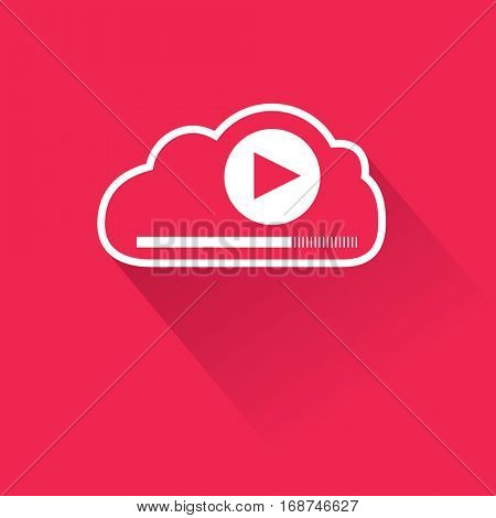 Video streaming from remote digital data storage cloud. Flat vector illustration