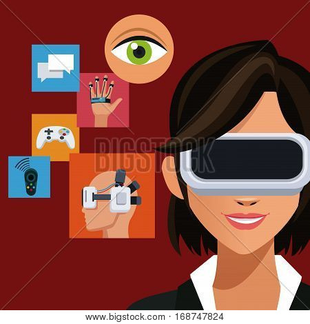 woman wearing headset augmented reality icons vector illustration eps 10