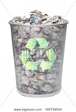 Recycling bin full of crumpled papers over white background