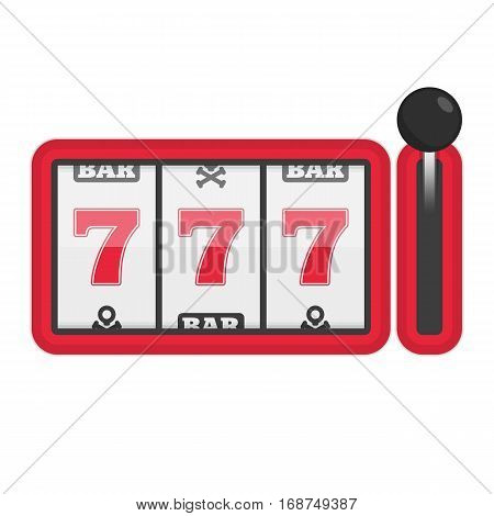 Slot machine with lucky sevens jackpot. Concept of success in game. Casino Machines vector illustration. 777 slots element gambling. EPS 10.