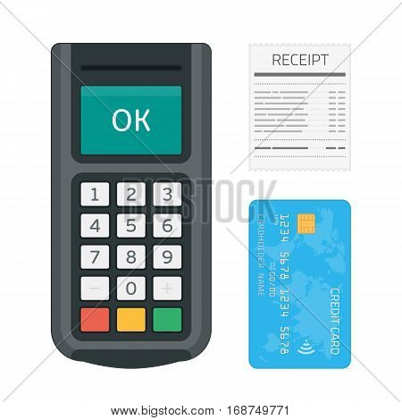 Pos machine with credit card and receipt in modern flat style. Payment terminal isolated on white background. Concept of cashless payment and credit card payment. Vector illustration. EPS 10.