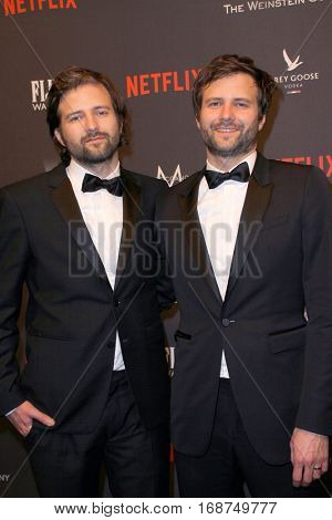 Matt Duffer and Ross Duffer arrive at the Weinstein Company and Netflix 2017 Golden Globes After Party on Sunday, January 8, 2017 at the Beverly Hilton Hotel in Beverly Hills, CA.