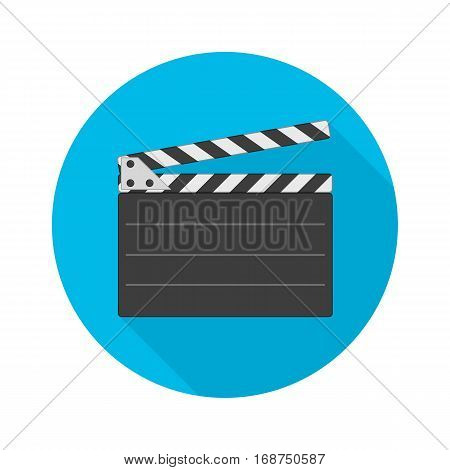 Movie clapper board icon with ling shadow. Director clapperboard sign. Flat style clapboard slate filmmaking device, concept of film production symbol. Vector illustration EPS 10.