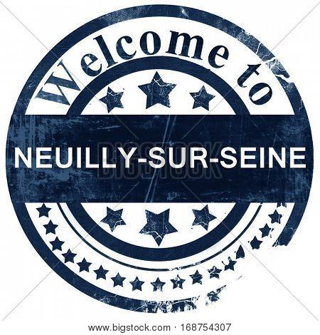 neuilly-sur-seine stamp on white background