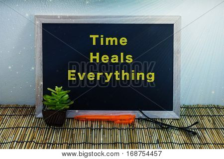 Business & creative concept,Time Heals Everything word on blackboard with green plant,pen & spectacle eyeglasses.