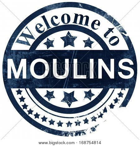 moulins stamp on white background