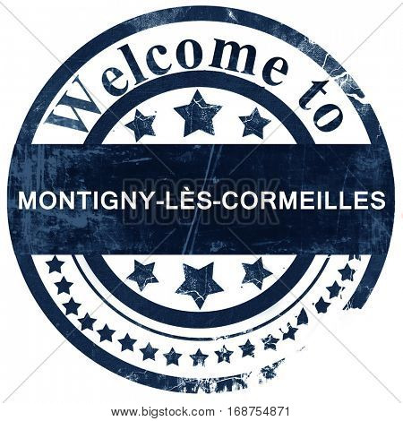 montigny-les-cormeilles stamp on white background