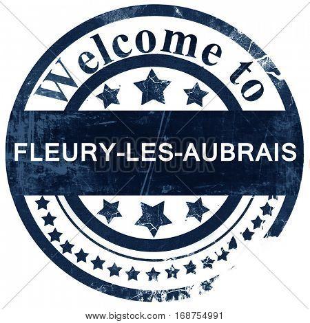 fleury-les-aubrais stamp on white background