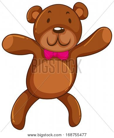Brow teddy bear with pink bow illustration