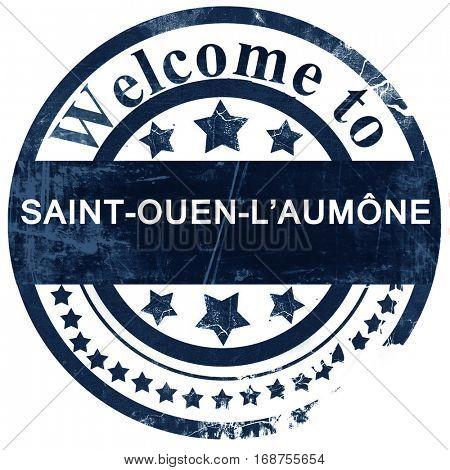 saint-ouen-l'aumone stamp on white background