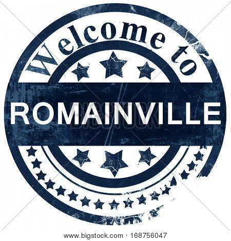 romainville stamp on white background